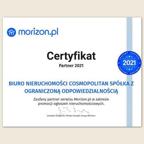 Certyfikat agencji nieruchomości z Warszawy - COSMOPOLITAN